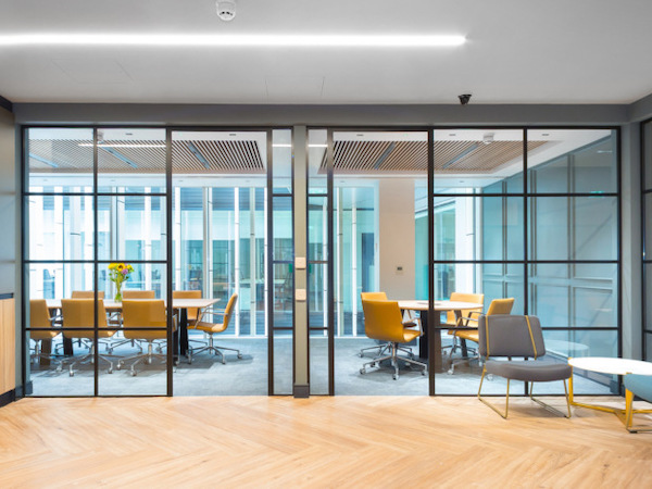 Landmark Space boardrooms painted in green and white