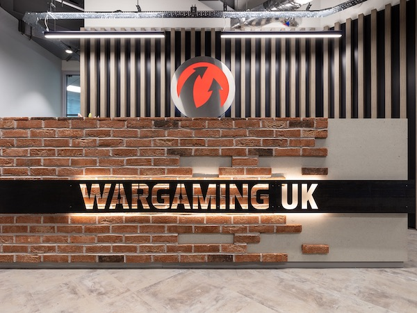Wargaming entrance painted in white