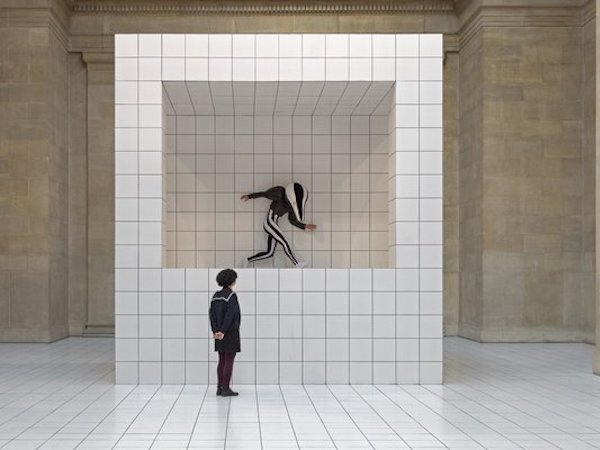 white ceramic tiles laid onto box in Tate Britain 'The Squash'